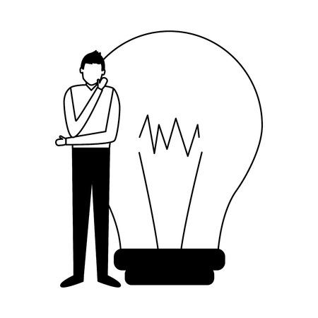 man thinking creativity bulb business work vector illustration Illustration