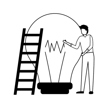 businessman with stairs and bulb vector illustration