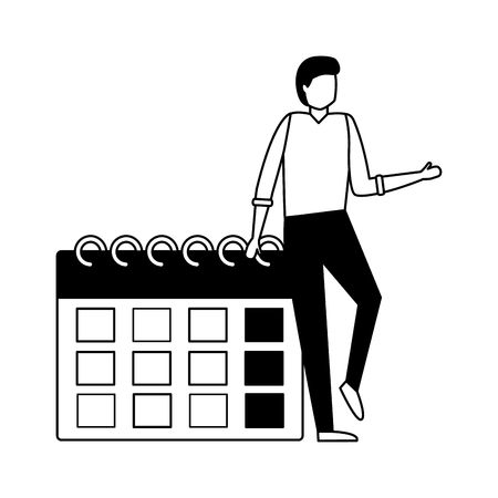 business man calendar reminder work vector illustration