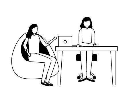 women team business working office vector illustration Illustration