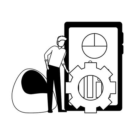 man mobile chart gear business work vector illustration Illustration