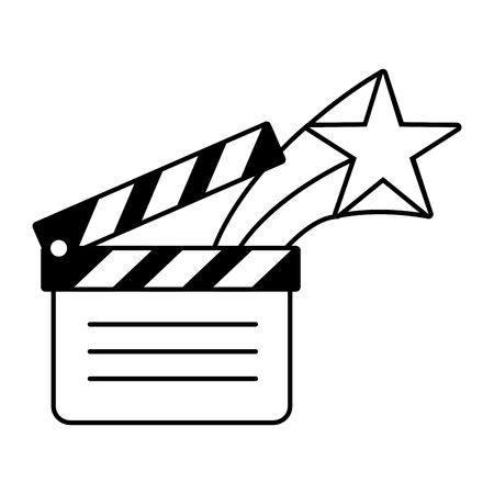 film movie clapperboard star on white background vector illustration Illustration