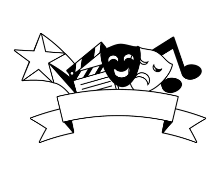 artistic masks theater clapperboard music vector illustration