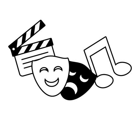 Máscara de teatro nota musical ilustración de vector de película