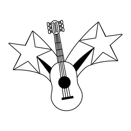 guitar instrument stars on white background vector illustration Archivio Fotografico - 124740540