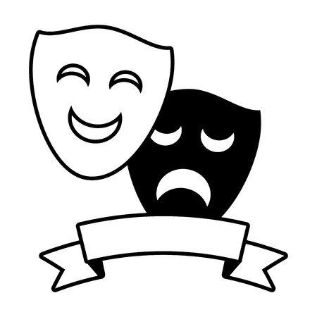 drama comedy mask theater ribbon vector illustration