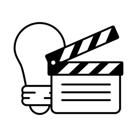 clapperboard bulb idea creativity white background vector illustration