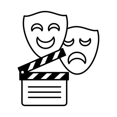Máscaras de comedia de drama de claqueta ilustración de vector de fondo blanco Ilustración de vector