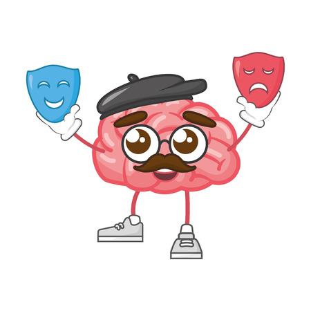 cartoon brain with theater masks creativity vector illustration