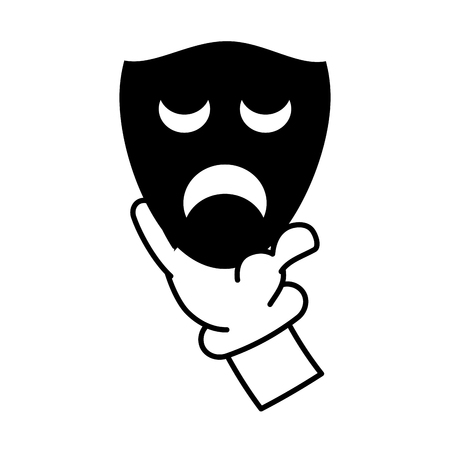 cartoon hand with drama mask theater vector illustration  イラスト・ベクター素材