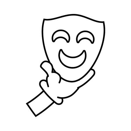 cartoon hand with comedy mask theater vector illustration