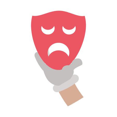 cartoon hand with drama mask theater vector illustration Illustration