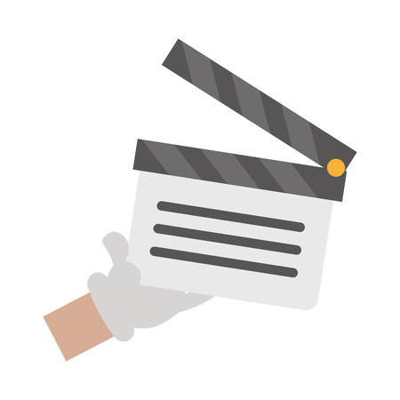 cartoon hand holding film clapboard vector illustration