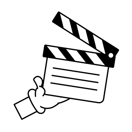 cartoon hand holding film clapboard vector illustration