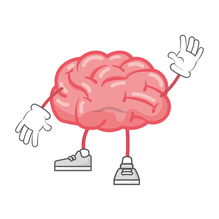 cartoon brain with legs and hands vector illustration Çizim