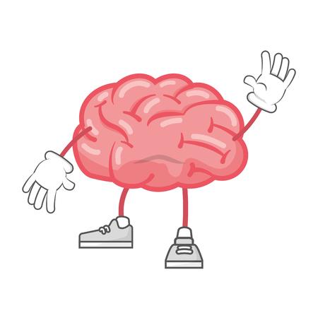 cerveau de dessin animé avec les jambes et les mains vector illustration