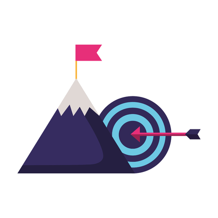 business mountain flag and target vector illustration