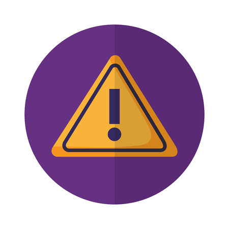 warning caution signal on purple background vector illustration