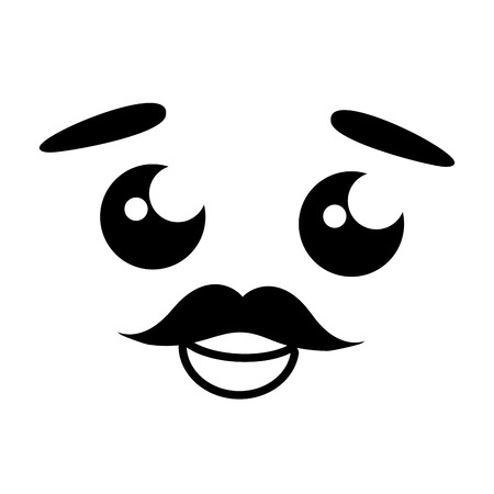 cartoon face mustache white background vector illustration