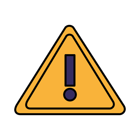 warning caution signal on white background vector illustration