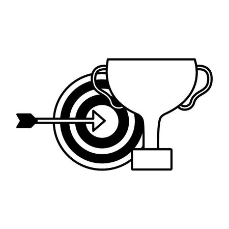 business trophy target arrow success vector illustration