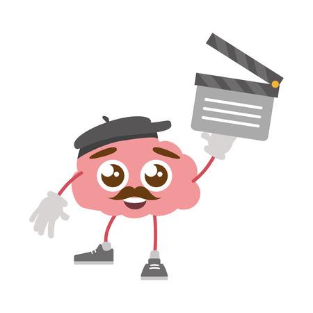 cartoon brain creativity clapperboard film vector illustration vector illustration