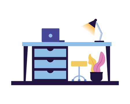 office workspace desk drawers chair laptop vector illustration
