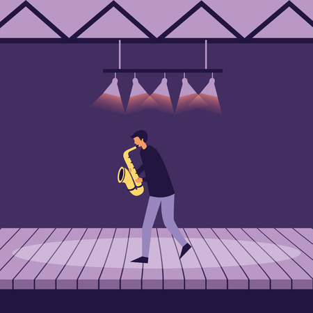 musician man with saxophone on stage vector illustration