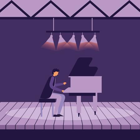 musician man with piano on stage vector illustration Archivio Fotografico - 124740659