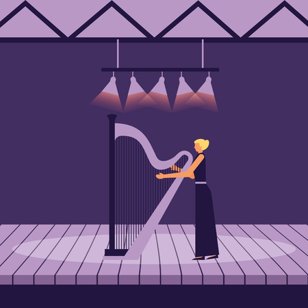musician woman with harp on stage vector illustration Archivio Fotografico - 124740662