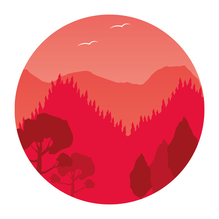 landscape mountains forest style round white background vector illustration