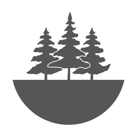 gray forest trees vintage landscape vector illustration