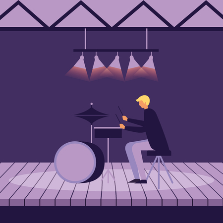 musician man with drums on stage vector illustration