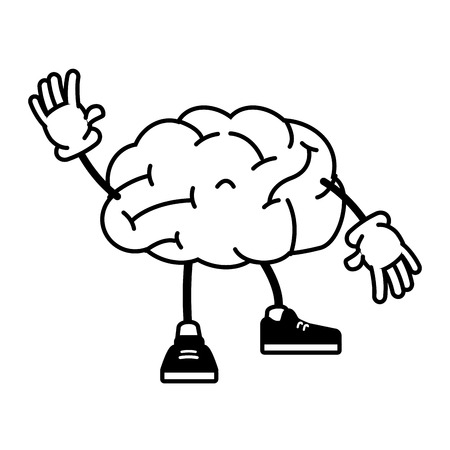 cartoon brain with legs and hands vector illustration vector illustration