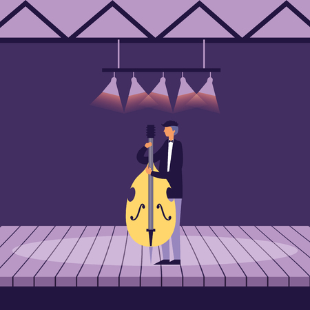 musician man with cello on stage vector illustration