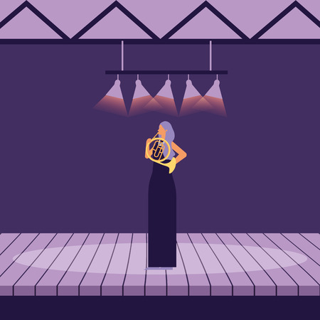 musician woman with french horn on stage vector illustration