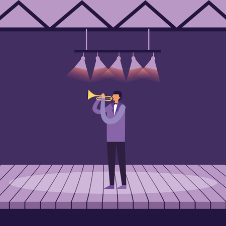 musician man with trumpet on stage vector illustration  イラスト・ベクター素材