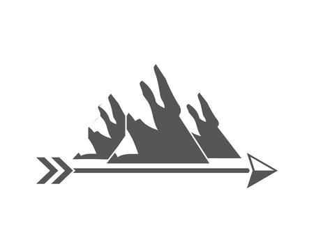 mountains arrow wanderlust vintage design vector illustration