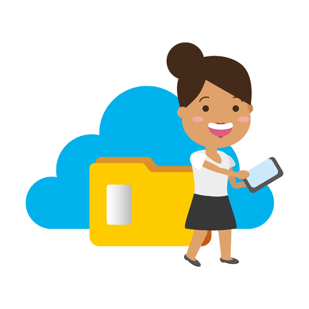 woman using mobile folder cloud computing tech device vector illustration Иллюстрация