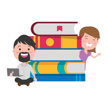 man and girl with laptop books tech device vector illustration Illustration