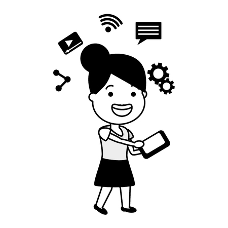 woman using mobile tech device vector illustration