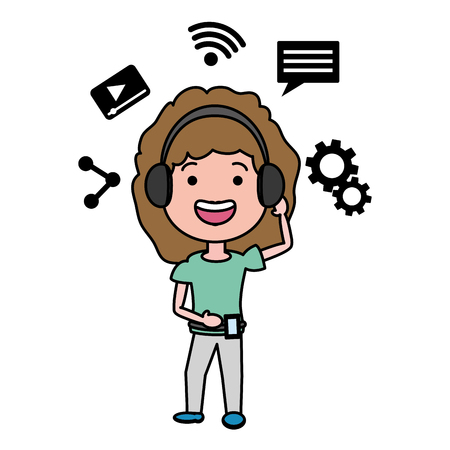 woman using headphones and mobile tech device vector illustration