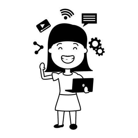 woman using laptop tech device vector illustration Stock Vector - 124740762