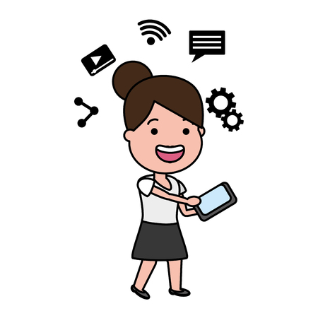 woman using mobile tech device vector illustration Stock Vector - 118221629