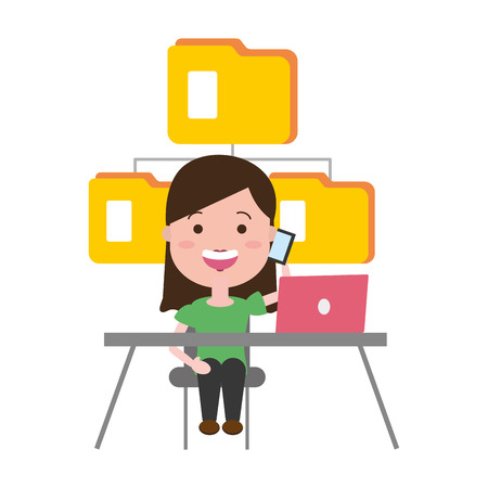 woman working office laptop data folder tech vector illustration