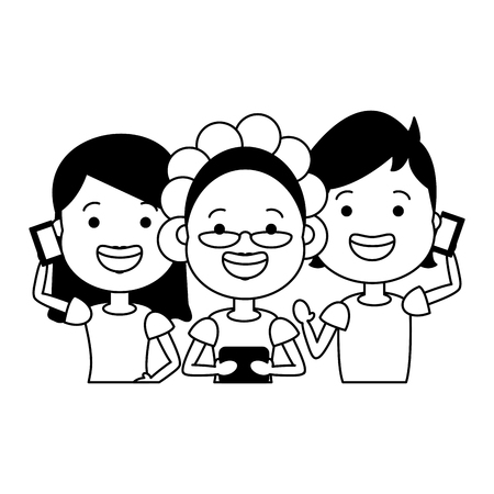 people using cellphones tech device vector illustration