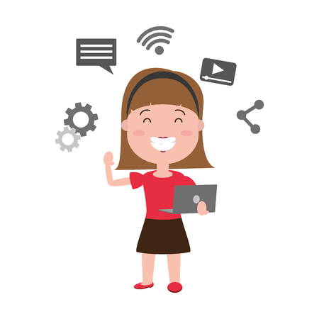 woman using laptop tech device vector illustration Illustration