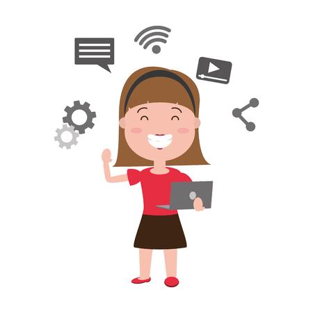 woman using laptop tech device vector illustration Standard-Bild - 124740769