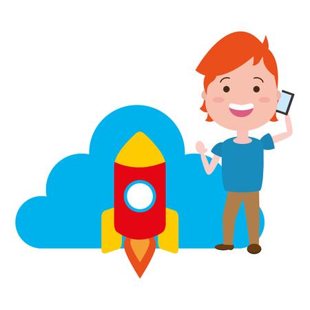 young man using mobile rocket cloud computing tech vector illustration