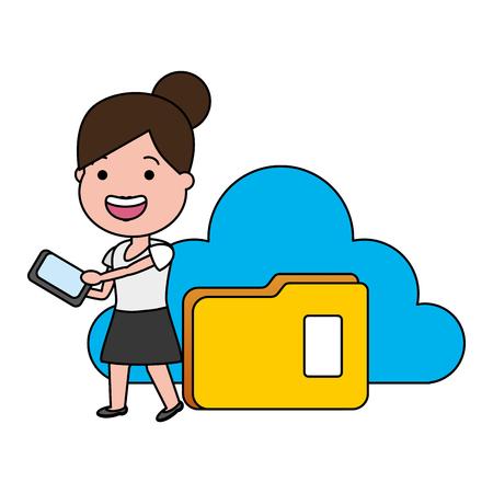 woman using mobile folder cloud computing tech device vector illustration Иллюстрация